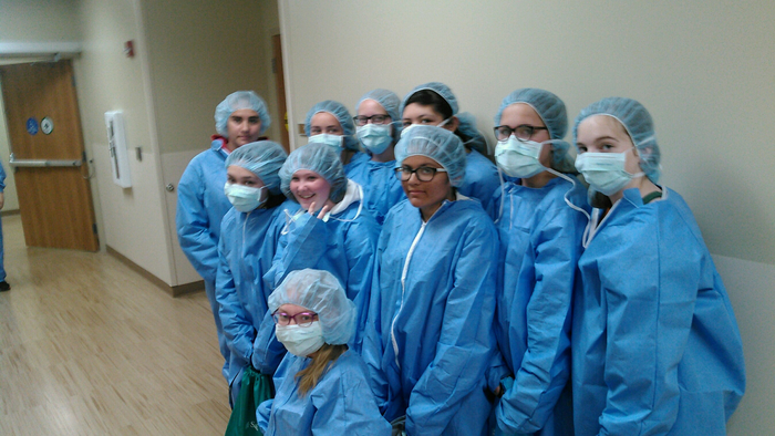 Students visiting a hospital